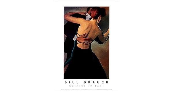 Evening in Jade Couple Dancing by Bill Brauer 36x24 Romantic Art Print Poster