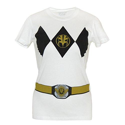 White Ranger Costume T-shirt (Power Rangers White Ranger Costume Junior Women's T-Shirt-Junior Large [JL])