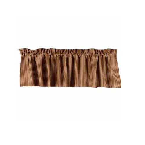 Home Collection by Raghu York Ticking Barn Red and Nutmeg Valance, 72 by 15.5