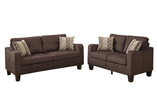 Poundex Bobkona Spencer Linen-Like Polyfabric 2Piece Sofa & Loveseat Set in Chocolate ()