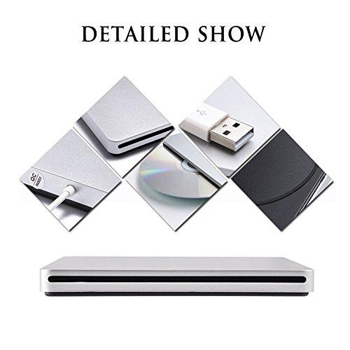 External CD DVD Drive Sunreal Ultra Slim Portable USB 2.0 CD+/-RW DVD +/-RW Burner Writer Player for Apple Mac Macbook Pro/Air iMac Laptop by Sunreal (Image #3)