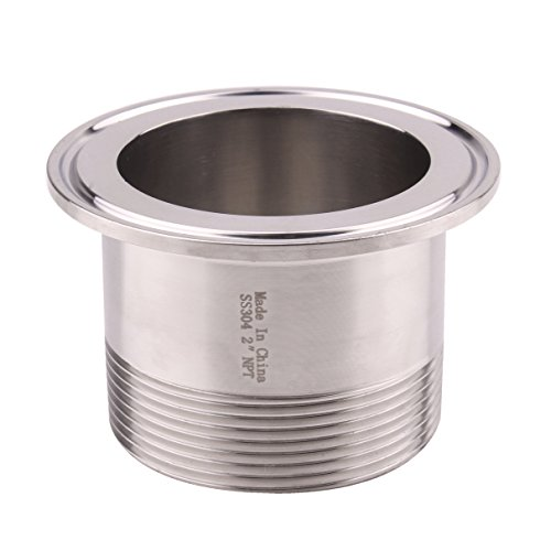 DERNORD Sanitary Male Threaded Pipe Fitting to 2.5 INCH (OD 77mm Ferrule) TRI CLAMP (Pipe Size: 2