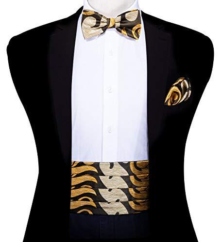 (Mens Cummerbund Bow Tie Set, Silk Cummerbund Pretied Bow Tie Hankerchief Cufflinks)