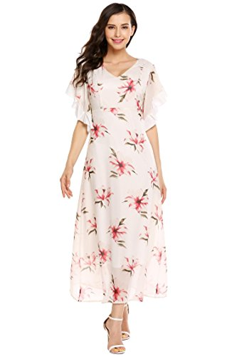 AL'OFA Women Summer Floral Print Bell Sleeve Chiffon Sundress Flare Casual Flowy Loose Beach Dress
