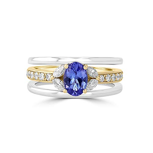 14k Gold Ring Oval Tanzanite - Eleganti Real Tanzanite or Ruby Ring with Natural Certified Diamonds in Pure 14K White & Yellow Gold Two Tone for Women (Tanzanite)