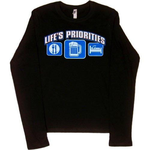 JUNIORS L/S T-SHIRT : BLACK - L - Lifes Priorities Eat Sleep (T-shirts Lifes Priorities Beer)