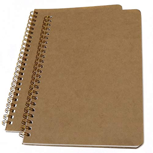 Softcover Spiral Notebook/Spiral Journal, Square Grid Notebook, 2 Notebooks Per Pack, Total 200 Pages-A5, 8.5