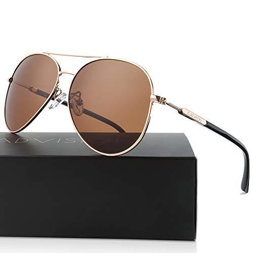 (GLADVISION Polarized Metal Frame Tan Brown Gold Aviator Sunglasses for Men, Unisex)