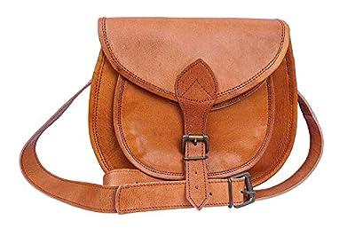 "13"" Inch Handmade Vintage Brown Genuine Leather Messenger Sling Bag - Women & Girls (Cross Body Shoulder)"