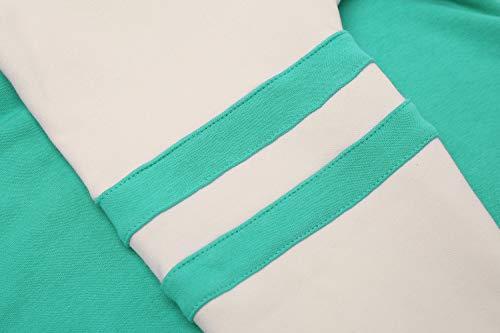 Yidarton Women's Color Block Long Sleeve T Shirt Casual Round Neck Tunic Tops Hoodies(Green,M) by Yidarton (Image #6)