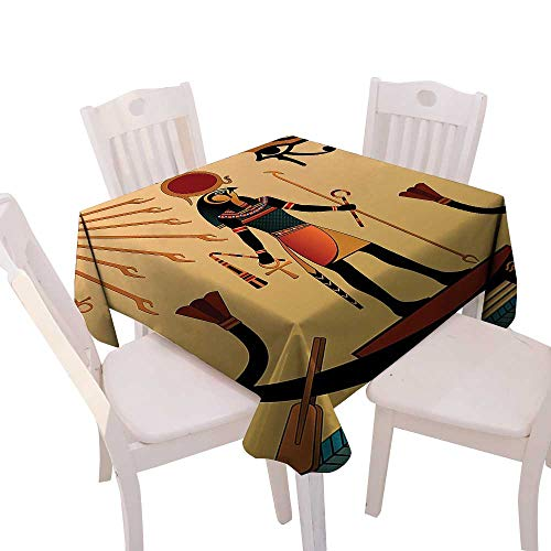 Cheery-Home Everyday Kitchen Tablecloth duitable All Occasions,(W60 x L60) Egyptian Decor Illustration Ancient God Sun Ra Old Egyptian Faith Grace Icons Traditional Pagan Print Multicolor. ()