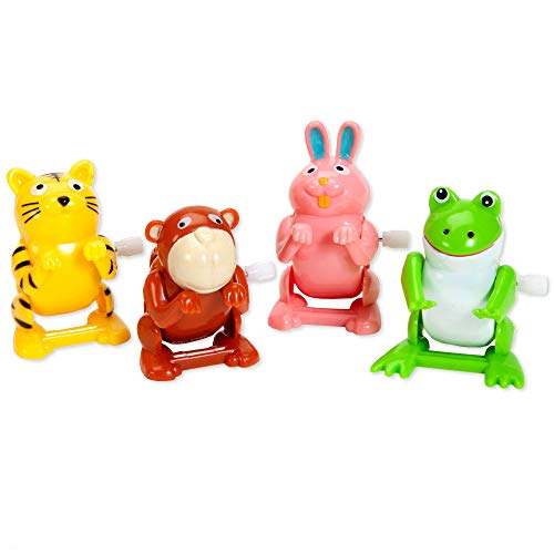 - Bits and Pieces - Set of Four (4) Wind Up Flipping Animals - Rabbit, Monkey, Cat and Frog Do Flips