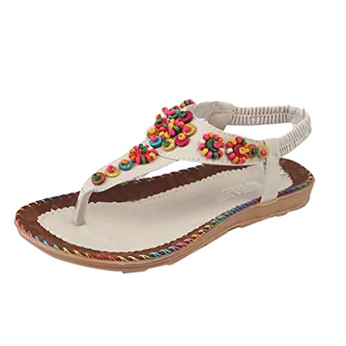 4095e5af25a8 Amazon.com  Women s Retro Sandals Ethnic Slip-on Shoes Flat Elastic Sandals  Band Flip-flop Slippers Beach Summer Sneakers Sexy Shoes  Beauty