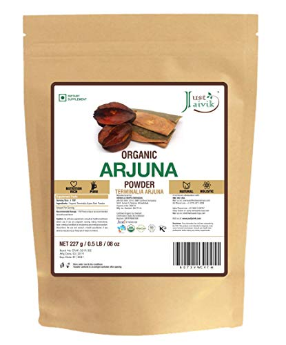 100% Organic Arjuna Bark Powder (Terminalia Arjuna) 1/2 LB, 08 oz, 227g USDA Certified Organic- Biodegradable Resealable Zip Lock Pouch Traditional rejuvenative and Tonic for The Heart*