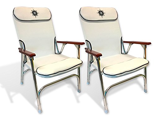 Marine Light Padded Deck Chair for Boat - Anodized Aluminum, White. Five Oceans - Set of 2 chair of 3723 - BC3880