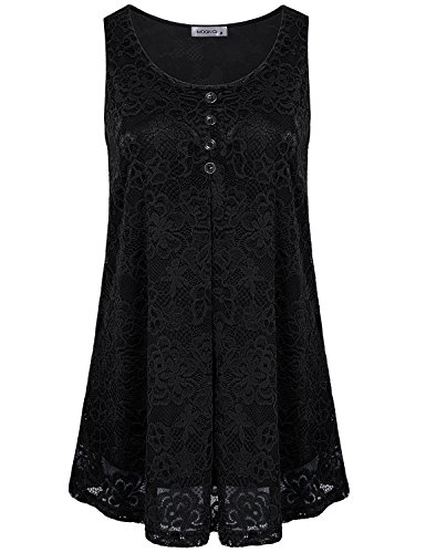 (MOQIVGI Sleeveless Tunics for Women Floral Lace Semi-Sheer Hollow Out Top Spring Short Sleeve Round Neck Dressy Office Blouse Grace Layered Career Shirt Business Attire Black Large)