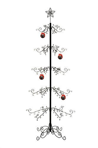 HOHIYA Ornament Display Tree Stand Metal Wire Hook Hanger Christmas Halloween Bauble Ball Dog Cat Glass 84inch Black