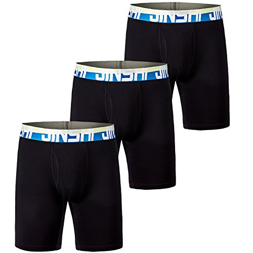 MoFiz Men's No Ride up Boxer Brief with Comfort Flex Waistband Underwears Pack of 3 Size L
