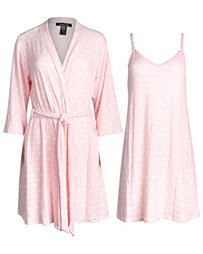 Heart Lounge Set (Rene Rofe Womens Lightweight Soft-Stretch Hacci Knit Robe and Chemise Nightgown Set (Blush Pink Hearts, Small)')