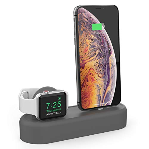 AhaStyle 2 in 1 Charging Stand Dock Silicone Holder Station for Apple Watch Series 4,3,2,1 and iPhone Xs/Xs Max/Xr/X/8/8 Plus/7/7 Plus/6(Dark Gray)