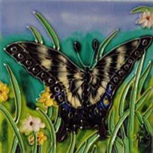 Black and White Butterfly in the Grass Decorative Ceramic Wall Art Tile 4x4