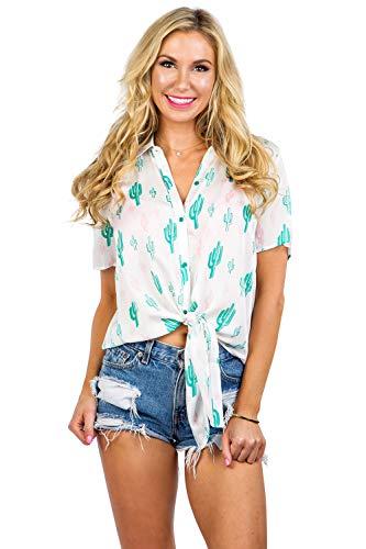 Women's White Cali Cactus Hawaiian Shirt - Desert Cactus Button Down Aloha Shirt