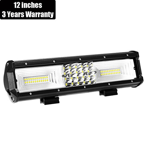 AMBOTHER Quad Row LED Light Bar 12 Inches 168W Spot Flood Combo Beam Off Road Lights Work Lighting Driving Fog Lamp Truck Jeep Pickup Cabin Boat SUV Car ATV UTV Marine,3 Years Warranty
