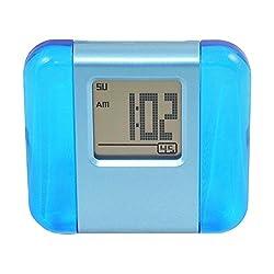 Alarm Clock Wake Up Clock, Small Travel Clock - Aluminum and Acrylic LCD Digital Alarm Clock Morning Clock - Blue.