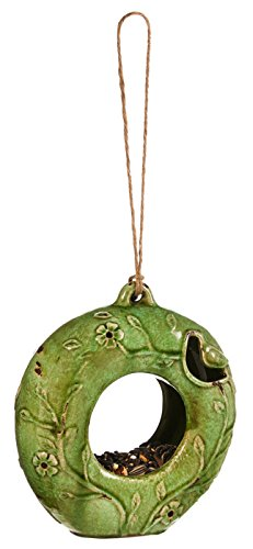 Ceramic Hanging Circle Feeder, Green by Gifted Living