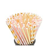 Biodegradable Paper Straws, 100 Pink Straws/Gold Straws for Party Supplies, Birthday, Wedding, Bridal/Baby Shower Decorations and Holiday Celebrations