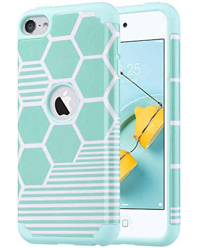 ULAK iPod Touch 5 & 6 Case, iPod Touch 7th Generation Case, Slim Fit Protective Hybrid Dual Layer Soft Silicone and Hard Back Cover for Apple iPod Touch 5th/6th/7th Gen, Honey Comb Stripes (Make Your Case For Ipod 4)