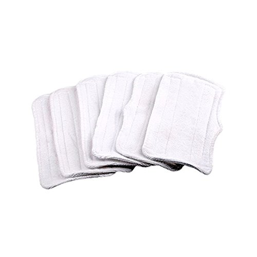 Steam Wagon (6Pcs Replacement Microfiber Cleaner pads Washable for Shark Steam Mop XT3010/S3111/S1001/S3101/SP100K/S3250/S3251/S3202/SE200/SP100Q (White))