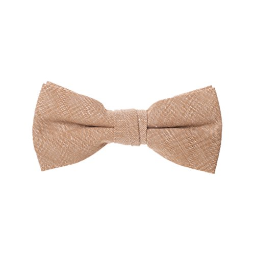 Born to Love - Boys Kids Pre Tied Adjustable Bowtie Easter Holiday Party Dress Up Cotton Bow Tie 4 Inches Tan by Born to Love