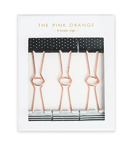(The Pink Orange TPO-0018E Metal Binder Clips, Black and White)