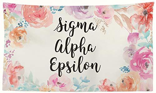 (Pro-Graphx Sigma Alpha Greek Sorority Flag Display Banner Sign Décor - 3' x 5' - New Floral)