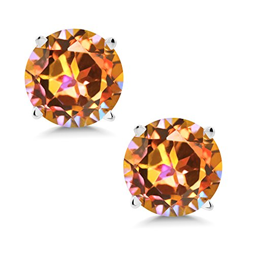 Gem Stone King 14K White Gold Ecstasy Mystic Topaz Stud Earrings 2.00 Ct Round 6MM