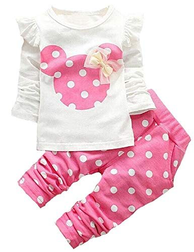 Cute Toddler Baby Girls Clothes Set Long Sleeve T-Shirt and Pants Kids 2pcs Outfits (White+Pink, 3T)