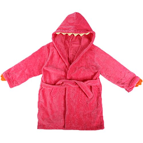 MyKazoe Toddler / Kids Terry Velour Dinosaur Bath Robe With Hood (Small / Medium, Pink Dinosaur)