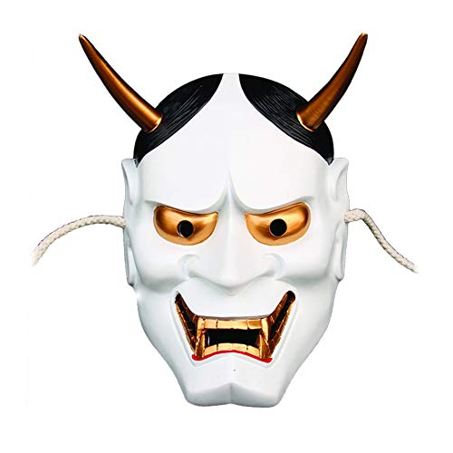 BNMY Halloween Mask Japanese Prajna Mask Red and White Selection Resin Product Scary Collectible Value Mask,White