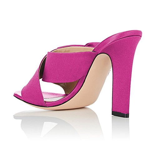 Cross Strap Sandals Bow Women With Heels Open Chunky Slide Shoes US Magenta FSJ Size Toe 4 High 15 Mule P7qqC