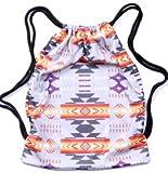 Southwest Design (Navajo Print) Drawstring bag (gym bag) Grey For Sale