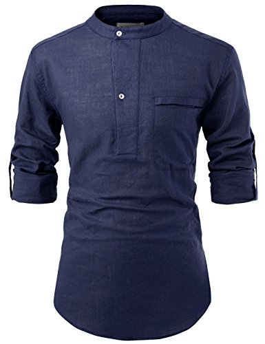 NEARKIN NKNKN381 Mens China Collar Henley Neck Roll-Up Sleeve Basic Linen Shirts Navy US L(Tag Size L)