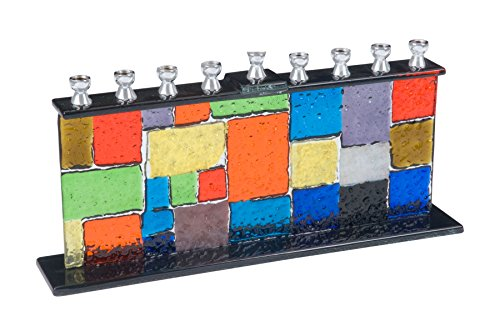 Fused Glass Multicolored Brick Design Hanukkah ()