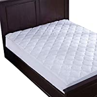 puredown pad Alternative Mattress Pad/Topper-Quilted-100% Cotton Top, Four-Leaf Clovers Pattern, King Size