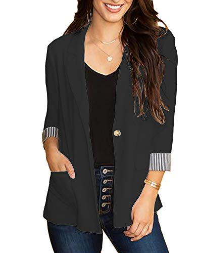 Womens Blazer Casual Ruched 3/4 Cuffed Sleeve Open Front Slim Fit Office Work One Button Cardigan Jackets with ()