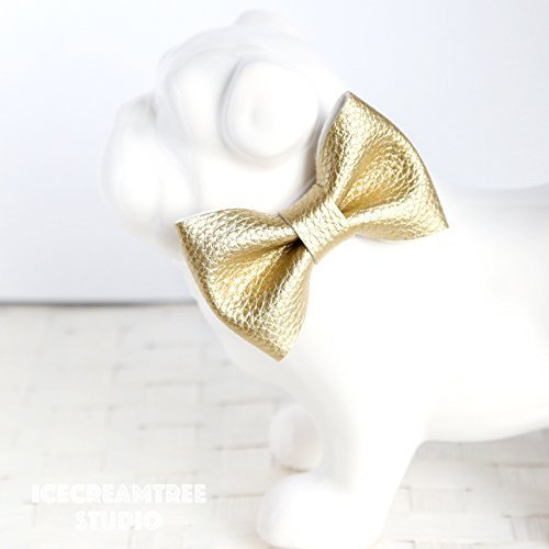 Faux Leather Metallic Gold - Bow Tie Collar Slide On, Collar Add On Bowtie, Bow Collar Accessories