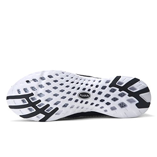Pooluly Mens Outdoor Quick Drying Water Shoes Blackwhite AnfvIIChNZ