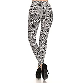 - 410bUctyolL - Print Leggings Orchids and Houndstooth (N532-OS)