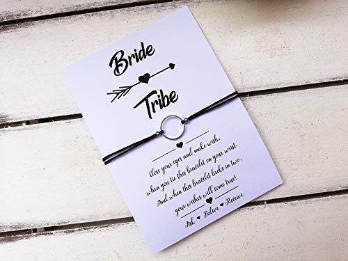 (Bride tribe karma wish string bracelet, Bachelorette party, bridesmaid gift, maid of honor, flower girl, bride shower, Wish Charm)