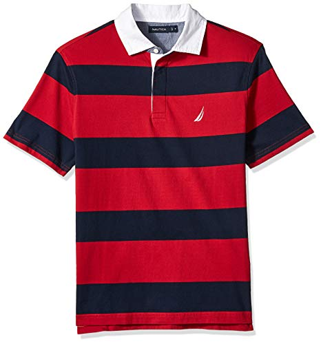 Nautica Men's Classic Fit Short Sleeve 100% Cotton Rugby Stripe Polo Shirt, red, Large